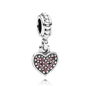 Pandora Retired Red Pave Heart Dangle Charm